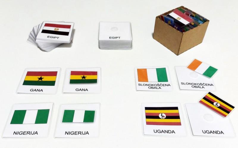 Tridelne kartice zastav Afrike