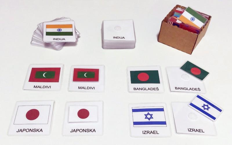 Tridelne kartice zastav Azije